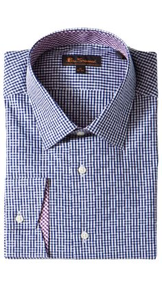 Crisp button-down in a classic Navy/White pattern.