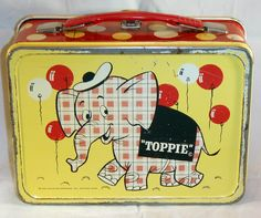 Toppie Lunch Box  (1957 Vintage) oh i would love to have a collection of 50's lunchboxes for storage in my 50's kitchen! swooon.