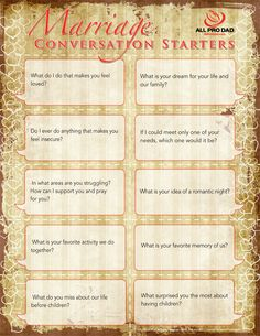 Marriage Conversation Starters@Michelle Adams. Good stuff from this source