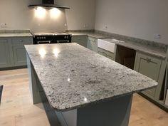 Colonial White Granite worktops in a traditional style hand built kitchen. Kitchen Dinning, Kitchen Cupboards, Home Decor Kitchen, Kitchen Ideas, Grey Kitchens, Home Kitchens, Granite Worktops, Kitchen Worktops, White Granite Kitchen