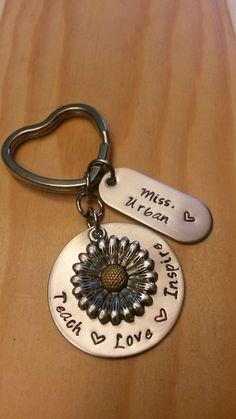Hand Stamped Teacher Keychain -  Teacher Gift - Teach Love Inspire  by BlackWolfDesigns21