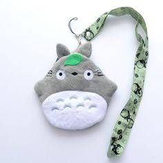 Soft Grey Totoro Japan Anime Plush Pouch Girls Mini Coin Purse + lanyard 4*5 New #MyNeighourTotoro #MiniWallet