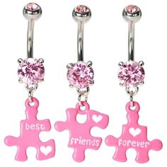 Best Friends Forever Belly Button Rings