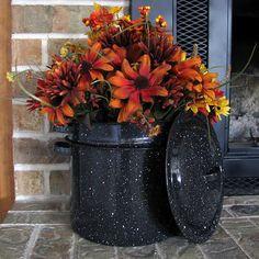 fall centerpiece in enamel pot