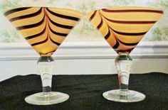 Martini Art Glasses Hand Blown Brown And Amber Clear Handle Lot Of Two