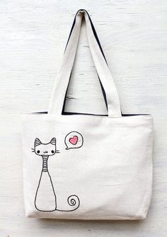 Items similar to cats in love / shoulder bag / minimalist line drawing / embroidery modern / reusable bags handmade on Etsy Sacs Tote Bags, Canvas Tote Bags, Diy Sac, Embroidery Bags, Cat Bag, Denim Bag, Fabric Bags, Reusable Bags, Shopper