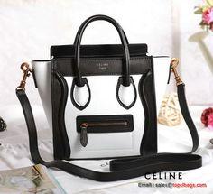 Celine Luggage Nano Bag Original Leather White Black