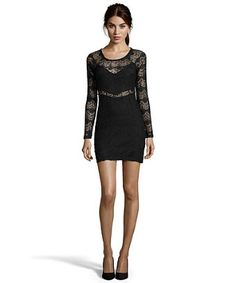 Hayden black lace fitted long sleeve dress