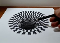 Drawing a Hole, Anamorphic Illusion by Jonathan Harris Illusion Kunst, Illusion Drawings, Optical Illusion Art, Optical Illusions Drawings, 3d Pencil Drawings, Cool Drawings, Pencil Art, Op Art, 3d Drawing Tutorial