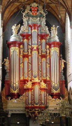 The phenomenal organ in St Bavo Cathedral in Haarlem, The Netherlands.  It is a Muller, built in 1738 and was played by both Handel and Mozart.  It is a triumph of religious and apparently governmental extravaganza, owing to the coat of arms on the top.