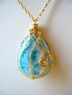 Wire Wrapped Beauriful Larimar Cabachon Necklace Gold by LKBeading