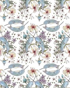 Narwhal pattern by Brooke Weeber. Would like this on a dress