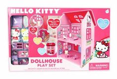 Hello Kitty Deluxe Wooden Dollhouse by Hello Kitty. $71.94. Create and decorate your own Hello Kitty Dollhouse where Hello Kitty and Mimmy will share many fun adventures. Design your own rooms with the repositionable decals. Use the furniture to design your kitchen, living room, and bedroom. Your wooden dollhouse is the cutest house to decorate. From the Manufacturer This Hello Kitty Dollhouse is 2 floors with 3 rooms; a Bedroom, Living Room and Kitchen. This Kit...
