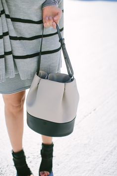 Bucket Bag and Striped Poncho