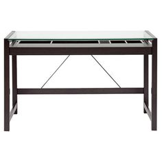 Idabel Glass-topped desk in espresso with a sliding keyboard tray and storage compartments.