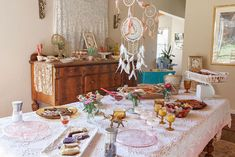 Party tables from a Boho Chic Baby Shower on Kara's Party Ideas | KarasPartyIdeas.com (17)