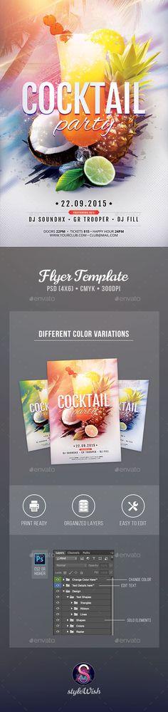 Cocktail Party Flyer Template #design Download: http://graphicriver.net/item/cocktail-party-flyer/12451229?ref=ksioks