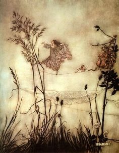 Peter Pan in Kensington Gardens by Arthur Rackham. Via Renee Shaw. Rackham was a favorite artist and made me want to be able to draw like him.