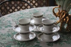 "Vintage Royal Tuscan ""Cascade"" English Bone China coffee or tea Cups Vintage China, Bone China, Sydney, 1970s, English, Unique Jewelry, Tableware, Etsy, Dinnerware"