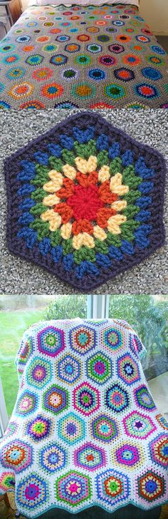 """Ruby"" hexagon blanket, free pattern from Nova Seals.   This is an easy granny hex; seven rounds using 10-ply worsted & hook size 'G' makes an 8-inch motif.  **Check Ravelry Project Gallery for great color combos in mixed, solids, & neutrals.  #crochet #afghan #throw #pillow"