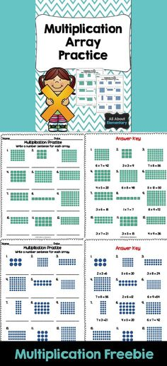 Multiplication Practice - Use this FREE download to help your 3rd and 4th grade classroom or homeschool students practice writing multiplication number sentences that match the array. Two pages with answer keys are included. Great for math centers or stat