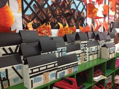 Great fire of London display with year 2 Year 2 Classroom, Art Classroom, Classroom Ideas, Great Fire Of London, The Great Fire, Cardboard Box Houses, Reception Class, Link And Learn, Jr Art