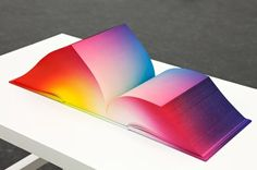 The RGB Colorspace Atlas, by Tauba Auerbach. In three x cubes, Auerbach showcases all the colors in existence and the entire RGB gradient. Each book is a different printed RGB scheme. The cloth cover and page edges were airbrushed by the artist. Gradient Image, Colour Gradient, Pastel Gradient, Tauba Auerbach, Photoshop, Design Graphique, Book Binding, Editorial Design, Book Design