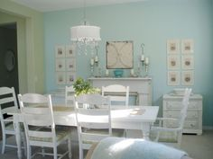 Get out your white paint for your furniture and paint your walls a soft color for this coastal look.
