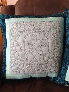 Custom quilted dog portrait pillow on Etsy, $65.00