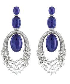 Diamond and Tanzanite Earrings  :  Hueb.