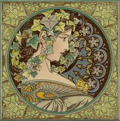 Tiles and panels recreated from the works of the highly regarded Alphonse Mucha