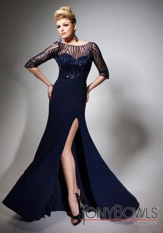 Tony Bowls Evenings Dress TBE21395 at Peaches Boutique Navy Prom Dresses c2389fdb3559
