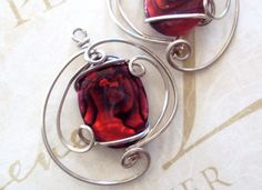 Wirewrapped Earrings Red Queen Paua Shell  in  by wirequeen