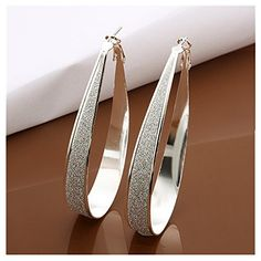 NYKKOLA Beautiful Jewelry 925 Sterling Silver Crystal Big Hoop Earrings  $2.99