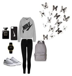 """""""Black and grey"""" by lalynany ❤ liked on Polyvore featuring NIKE, True Religion, Nila Anthony, Converse, Larsson & Jennings and Umbra"""