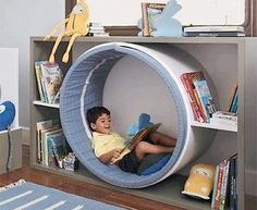 Fun idea that can be dressed up as a space worm hole or a rabbit hole, centre of. Fun idea that can be dressed up as a space worm hole or a rabbit hole, centre of a flower, any number of ideas to bring a reading nook into playroom. Toy Rooms, Kids Room Design, Kids Corner, Reading Corner Kids, Kid Spaces, Small Spaces, Kids Furniture, Antique Furniture, Library Furniture