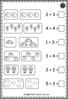 Sumas sencillas con dibujos - Imagenes Educativas Numbers Kindergarten, Free Kindergarten Worksheets, Worksheets For Kids, School Worksheets, Preschool Learning Activities, Preschool Printables, Preschool Math, Math Literacy, Teaching Math
