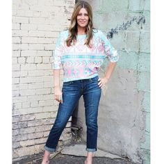 Love this knit aztec top for spring! $33. Cropped articles of society denim $54. #ourlittlestoreboutique #utahboutiques #utahfashions #ootd #wiw #fashionable #feelgood #ordernow #weship 801.763.2700 #leaveemail&we'llpaypalinvoiceyou #outfit #details #accesorize @ourlittlestoreboutique #utahfashion #tellafriend #americanfork #utah #shopsmall #beyou #seeyousoon
