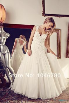 Customized Made Sweetheart Tank Sleeveless Beading Appliques Back Open  Floor-Length Long Wedding Dress 2014 $179.00