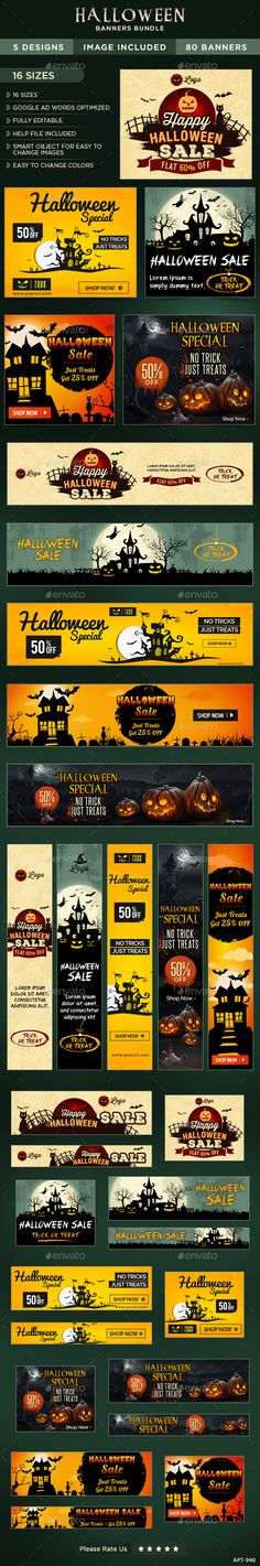 Halloween Banners Bundle - 5 Sets Template PSD #design #ads Download…