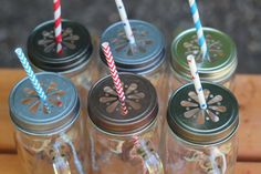 Daisy Cut Mason Jar Lids – Awesome for Showers, Parties, and more! Super cute, also makes a great candle holder or flower vase. LOVE!