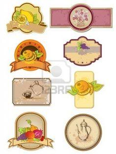 etiquetas de cosecha de alimentos y bebidas  Foto de archivo