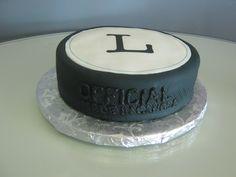 A special hockey puck wedding cake for a creative, fun couple!