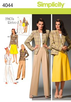 Simplicity Retro Pattern 4044 Women's Skirt, Pants and Lined jacket Sizes Skirt Patterns Sewing, Costume Patterns, Simplicity Sewing Patterns, Vintage Sewing Patterns, Clothing Patterns, Skirt Sewing, Suit Pattern, Retro Pattern, Jacket Pattern