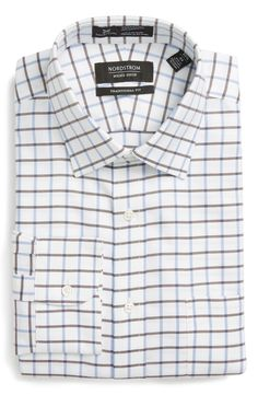 New Nordstrom Men's Shop Smartcare Traditional Fit Check Dress Shirt ,BLUE GRAPEMIST fashion online. [$34.75]wooclo top<<