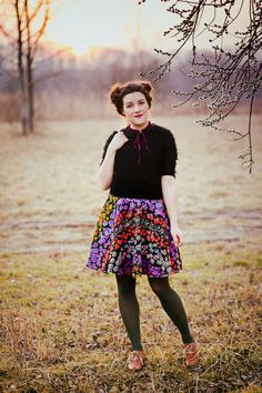 So love this outfit. The skirt is just amazing, and love it paired with the black sweater, hunter green tights, and brown oxfords. #modcloth #stylegallery