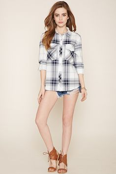 Snap-Buttoned Plaid Shirt