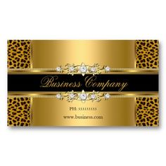 Gold black silver chevron diamond pearl floral business card elegant gold cream leopard black animal business card template colourmoves Image collections