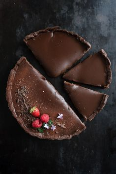 dark coffee chocOlate tart with fleur de sel