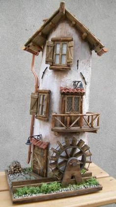 me ~ 80924124 Tegola Negozio di fiori Miniature Crafts, Miniature Fairy Gardens, Miniature Houses, Clay Fairy House, Fairy Garden Houses, Tile Crafts, Wood Crafts, Plastic Bottle House, Popsicle Stick Houses